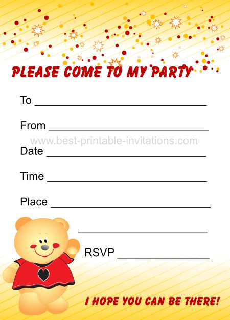 Kids Birthay Party Invites - Printable