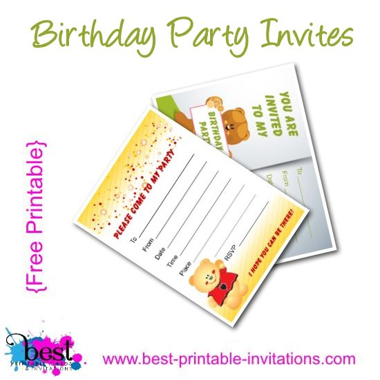Free Printable Birthday Party Invites - Kids