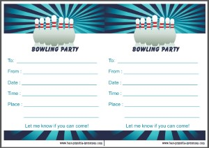 Bowling Birthday Party Invite