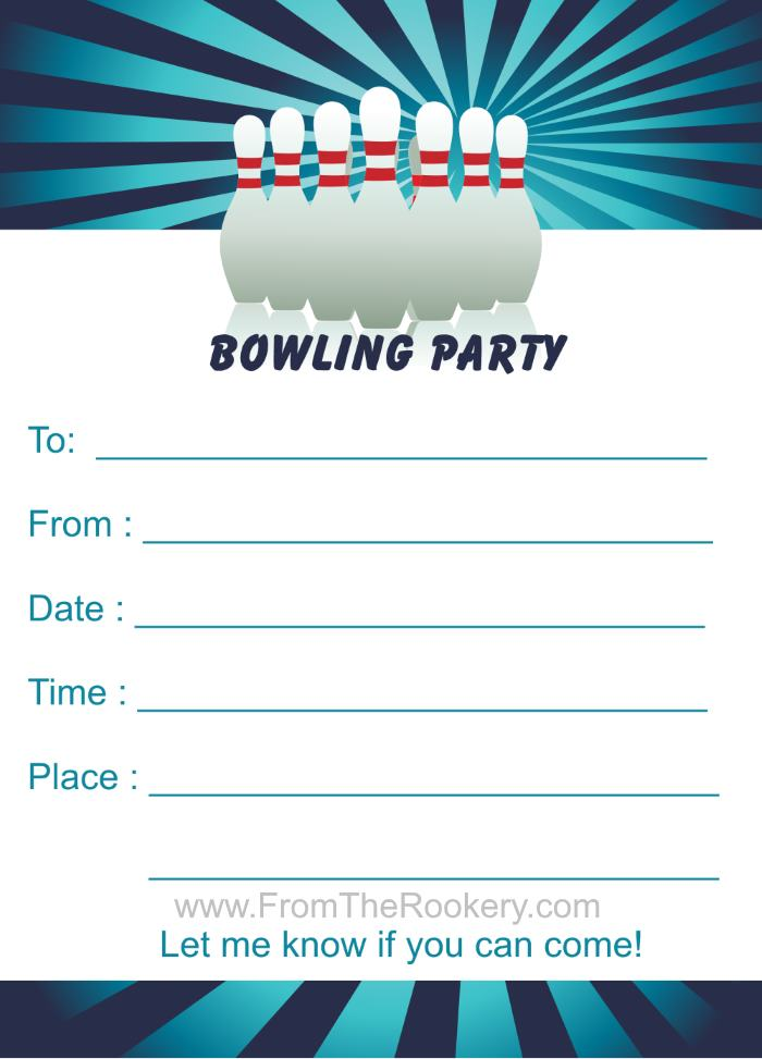 Birthday Party Invitations – Printable Bowling Party Invitations