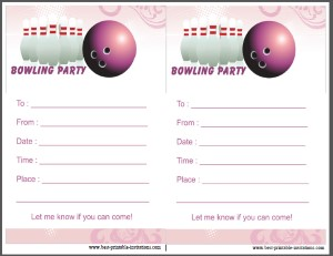 Pink Bowling Birthday Party Invites