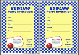 Free printable bowling party invites