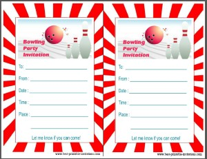 Bowling party Invites - Free Printable invitations