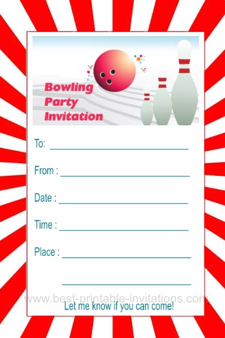 Free printable bowling party invite