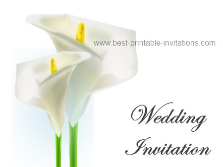 Free Printable Calla Lily Wedding Invitation