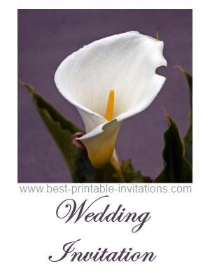 Free Printable Calla Lily Wedding Invitation