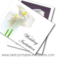Free Printable Calla Lilies Wedding Invitations - free printable invite cards