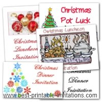 Christmas Dinner, Luncheon, Potluck invitations