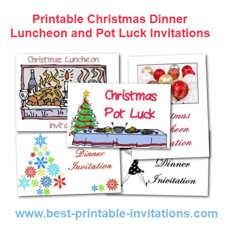 Free printable Christmas dinner, luncheon and potluck invitations