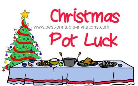 Christmas Dinner Luncheon And Potluck Invitations