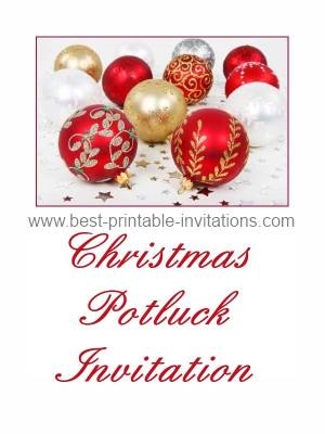 Christmas Dinner, Luncheon And Potluck Invitations