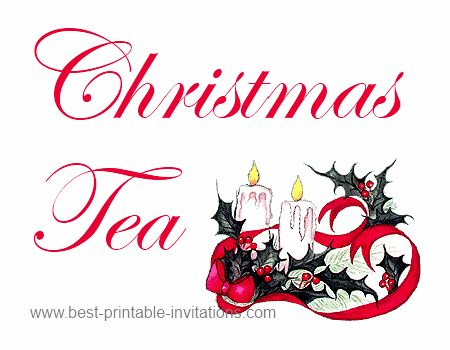 Free printable Christmas tea party invitations - festive candle design