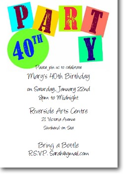 personalized 40th birthday invitation