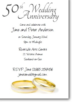 50th Wedding Anniversary Invitation - Rings