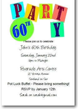 Customized 60th Birthday Party Invite