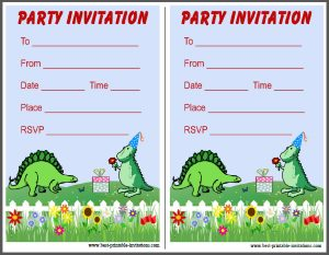 Dinosaur Party Invites - Free printable