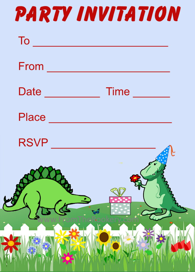 image relating to Printable Dinosaur Birthday Invitations identified as Printable Dinosaur Birthday Invites