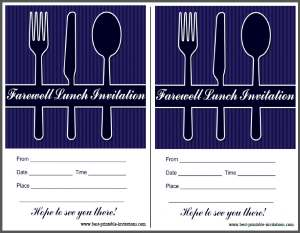 Free printable Farewell lunch invite