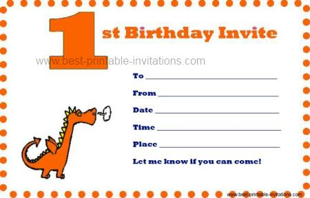 Free Printable First Birthday Invitations