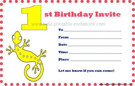 Printable First Birthday Invitations - Free Printable 1st b/day Invites