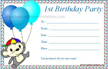 graphic about Free Printable Boy Birthday Invitations titled Printable 1st Birthday Bash Invites