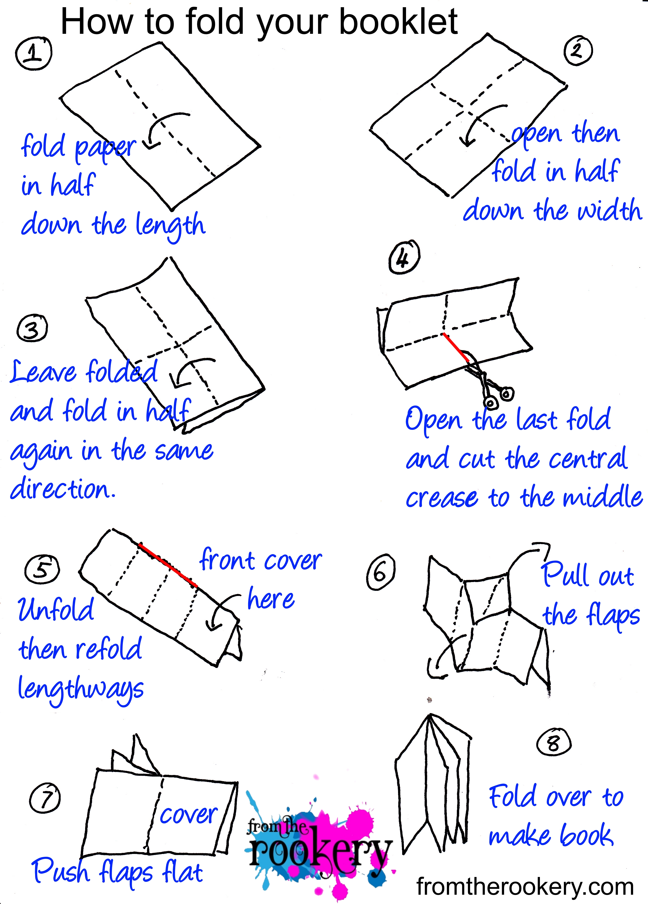 8 page mini booklet folding instructions