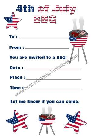 July 4th Invitations - Free printable BBQ invites