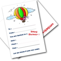 Free baby shower invitations - rabbit in hot air balloon