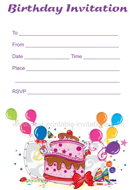 photograph regarding Printable Party Invite called Free of charge Birthday Invites