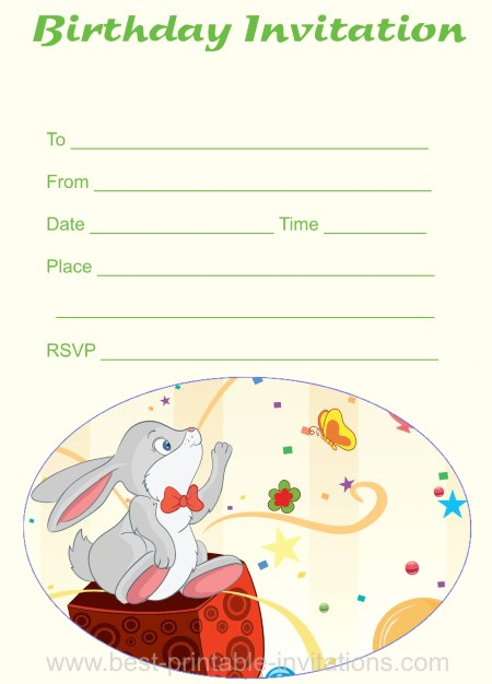 Free birthday invitations - Printable rabbit invites