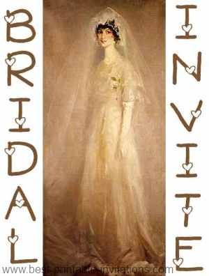 Free Bridal Shower Invitations - sepia bride in veil
