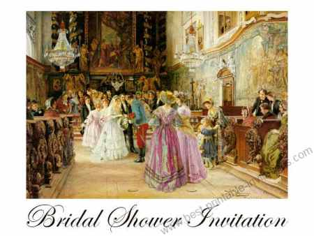 Free Bridal Shower Invitations - vintage wedding scene