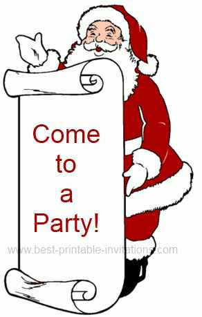 Free Christmas party invitations - Santa design