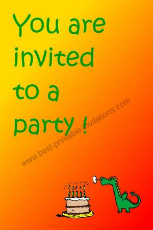 Free printable birthday invitations - Dragon and cake