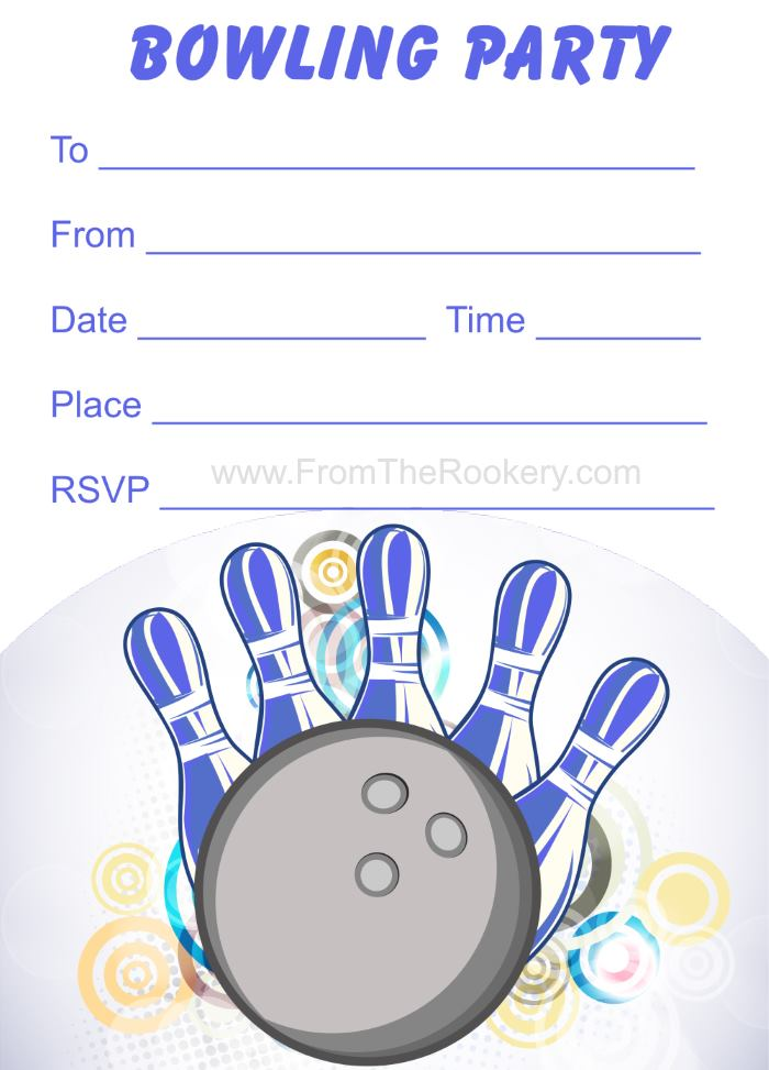 Superb image with printable bowling party invitations