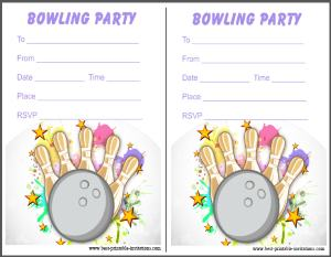 Printable Bowling Invites - Free invitation cards