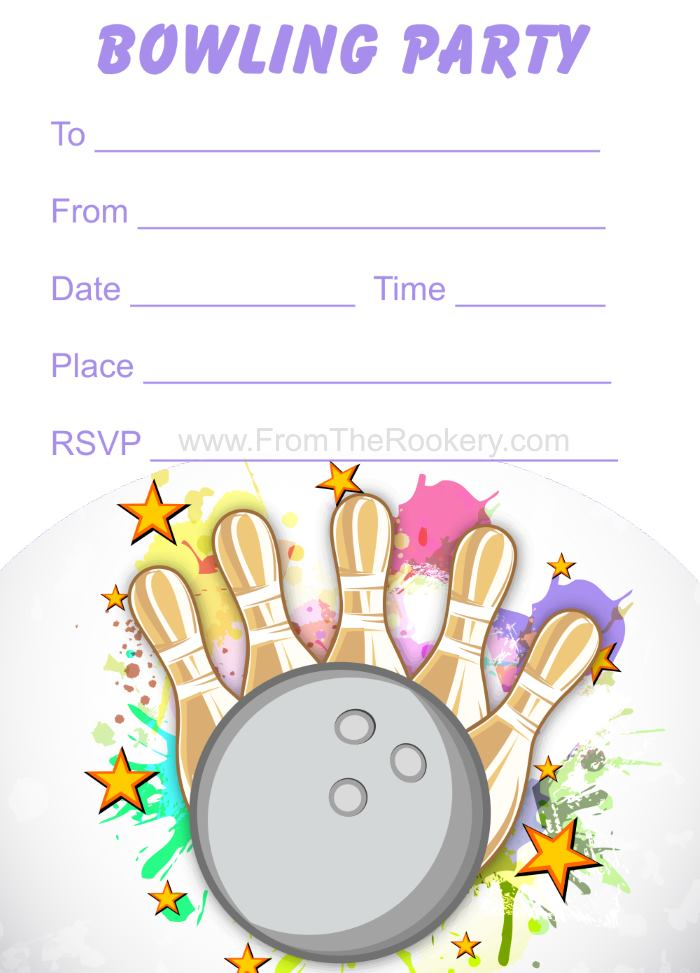 Kids Free Printable Bowling Invitations - Birthday Party Invites for Girls
