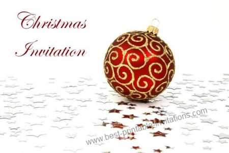 Free printable Christmas invitations - Red Bauble