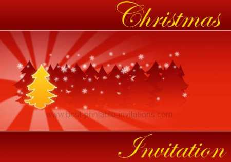 Free printable Christmas party invitations - red and yellow