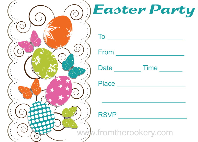 printable easter party invitations, party invitations