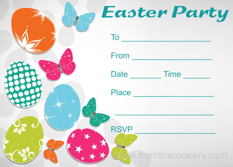 Free Printable Easter Party Invitations - Eggs and Butterflies