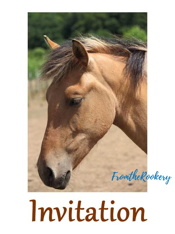 Free printable horse birthday invitations - brown horse head