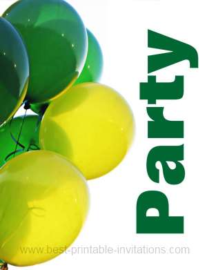 Free printable party invitations - green and yellow balloons
