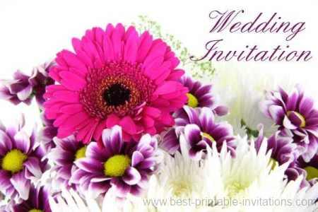 Free Printable Wedding Invitations - bright pink and purple flowers