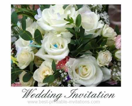 Free Printable Wedding Invitations - unique white rose bouquet