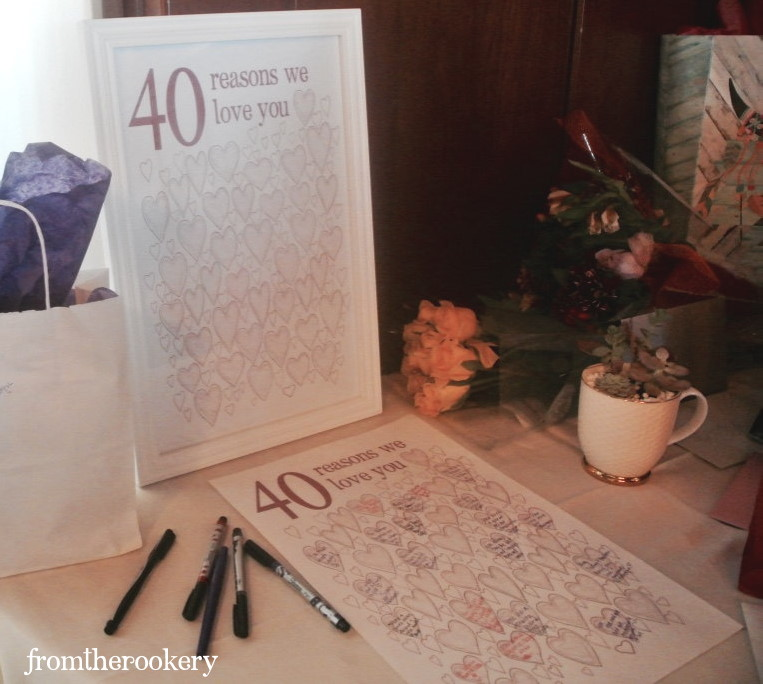 Guest Book Poster 40th Birthday