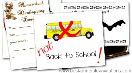 Homeschooling Invitations - Free Printable Invite Cards for Homeschool Parties