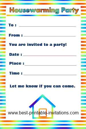 Free House Warming Invitations - Printable housewarming party invites