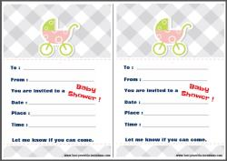 Invitations for Baby Shower - pastel pram design