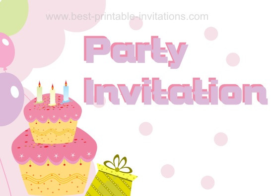 Kids Invitations Party Cards